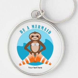 Sloth Mermaid Traffic Cone Silver-Colored Round Keychain