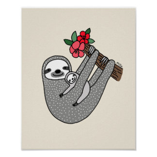 Sloth Mom & Baby Nursery Wall Decor Sloth Print