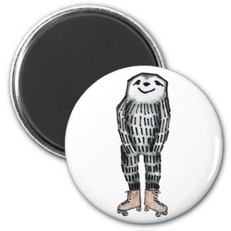 Sloth on Roller Skates 2 Inch Round Magnet