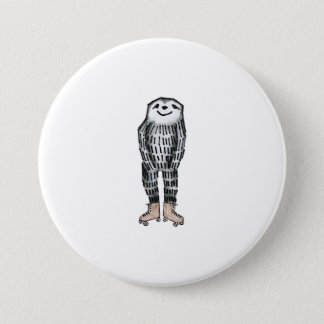 Sloth on Roller Skates 3 Inch Round Button