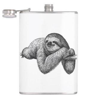 Sloth on tree hip flask