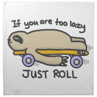 Sloth Skateboarding Napkin