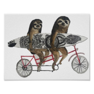 sloth surf bike poster