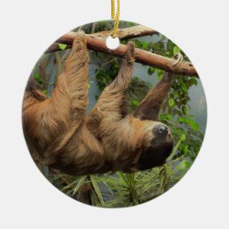 Sloth Waiting for Santa Ornament