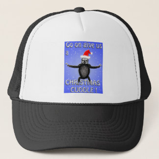 sloth wants a christmas cuddle trucker hat