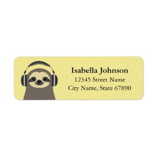 Sloth Wearing Headphones Return Address Label