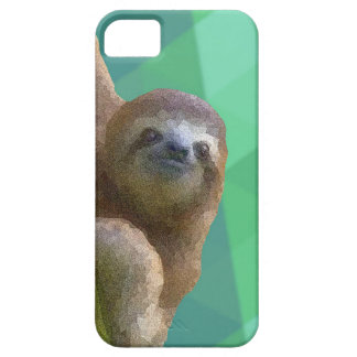 Sloth with Green Geometric Design iPhone 5 Case