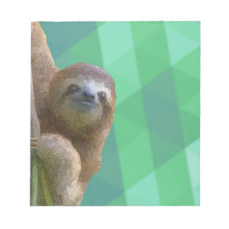 Sloth with Green Geometric Design Notebook Notepad