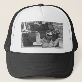 sloth with tank trucker hat