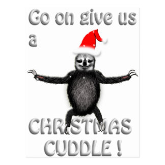 slothie wants a christmas cuddle postcard