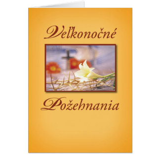 Religious easter gifts religious easter gift ideas on zazzle slovak easter cross and flowers religious card negle Images