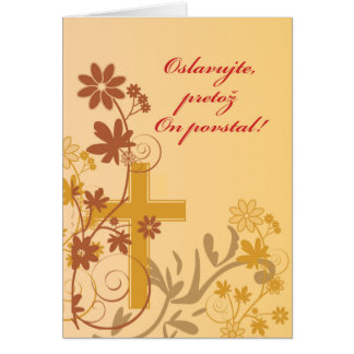 Slovak Easter Cross, Swirls, Flowers & Leaves Card