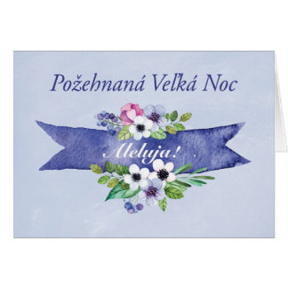 Slovak Easter Watercolor Floral Banner, Religious Card