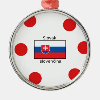Slovak Language And Slovakia Flag Design Metal Ornament