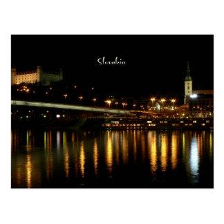 Slovakia, at night, beautiful cityscape photograph postcard