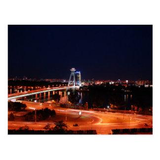 Slovakia - Bratislava - The Bridge At Night Postcard
