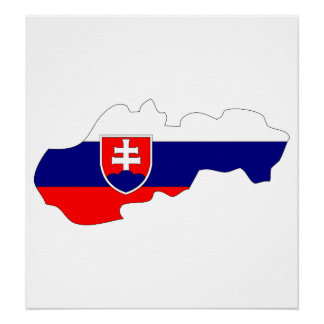Slovakia Flag Map full size Poster