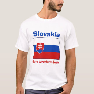 Slovakia Flag + Map + Text T-Shirt