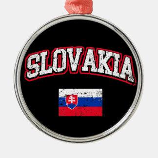 Slovakia Flag Metal Ornament