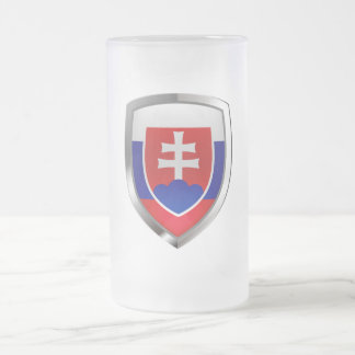 Slovakia Metallic Emblem Frosted Glass Beer Mug