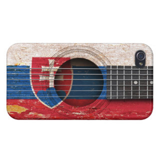 Slovakian Flag on Old Acoustic Guitar iPhone 4 Covers