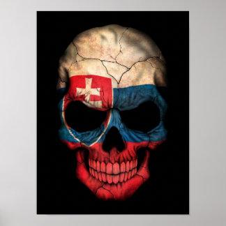 Slovakian Flag Skull on Black Poster