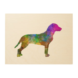 Slovakian Hound in watercolor Wood Wall Art