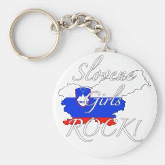 Slovene Girls Rock! Basic Round Button Keychain