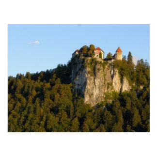 Slovenia, Bled, Lake Bled, Bled Castle on Postcard