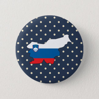 slovenia Flag Map on Polka Dots 2 Inch Round Button