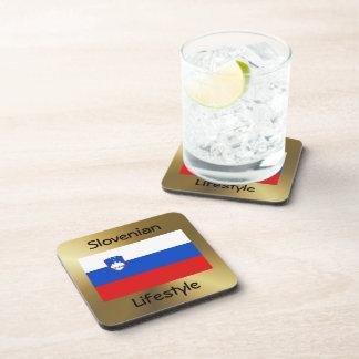 Slovenia Flag+Text Coaster