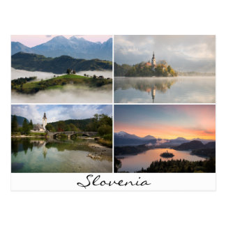 Slovenia landscapes with churches collage souvenir postcard