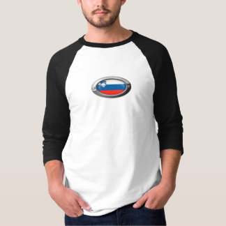 Slovenian Flag in Oval Steel Frame T-Shirt