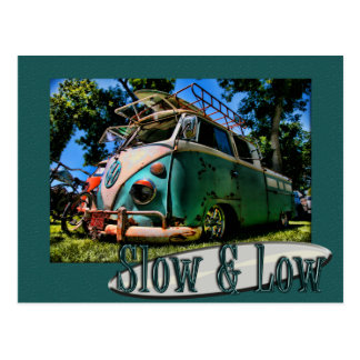 slow and low air cooled veedub postcard