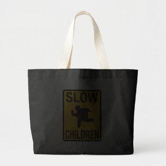 Slow Children fat kid street sign parody funny Canvas Bag
