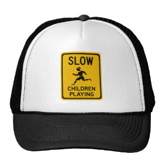 Slow - Children Playing, Traffic Warning Sign, USA Hats