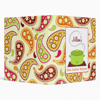Slow Cooker Recipe Binder - Green With Paisley