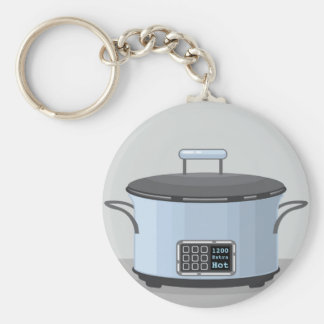 Slow cooking crock pot vector keychain