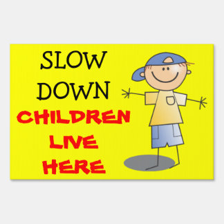 Slow Down Children Live Here Caution Kids Playing Sign