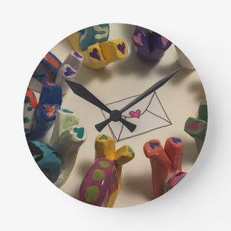 Slow Down Snails Round Clock