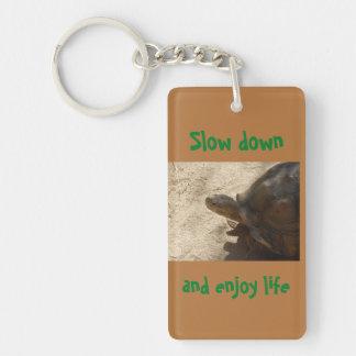 Slow down turtle keychain