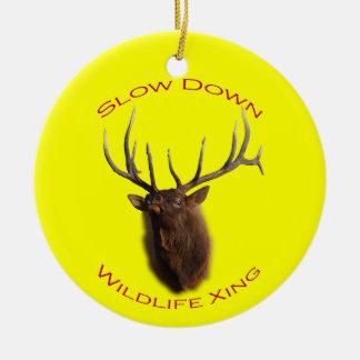 Slow Down Wildlife Crossing Ceramic Ornament