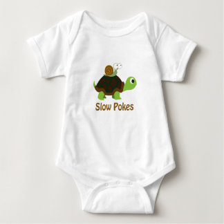 Slow Pokes Cute Turtle and Snail Baby Bodysuit
