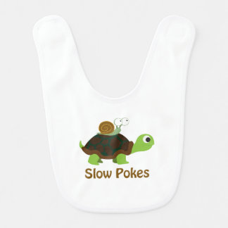 Slow Pokes Cute Turtle and Snail Bib