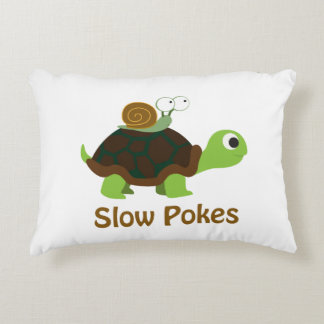 Slow Pokes Cute Turtle and Snail Decorative Pillow