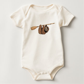 Slow Ride - Sloth on Flying Broom Baby Bodysuit