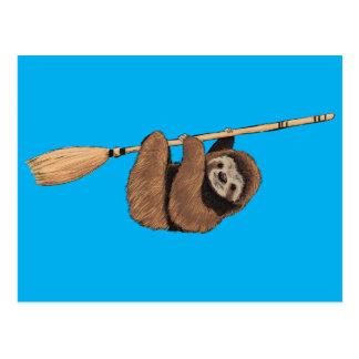 Slow Ride - Sloth on Flying Broom Postcard