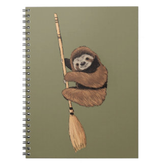 Slow Ride - Sloth on Flying Broom Spiral Notebook