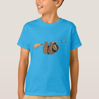 Slow Ride - Sloth on Flying Broom T-Shirt