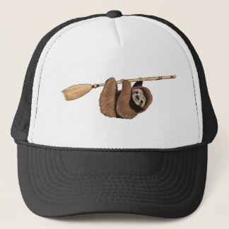 Slow Ride - Sloth on Flying Broom Trucker Hat